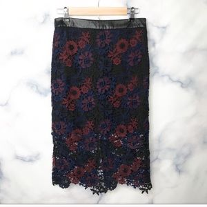 Topshop lace midi skirt navy and burgundy